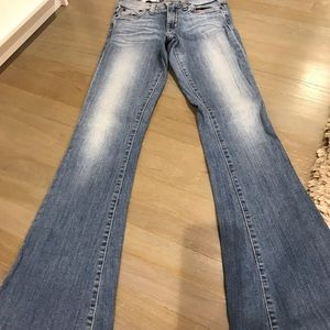 Red engine flare jeans size 26 mid rise